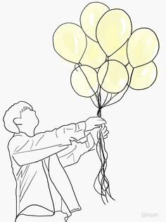 stray kids grow up 잘 하고 있어, boy with balloons by Kpop Drawings, Pencil Art Drawings, Art Sketches, Boy Drawing, Line Drawing, Art Sketchbook, Pop Stickers, Minimalist Drawing, Printable Designs