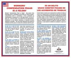 This poster is a detailed description of Workers' Compensation Fraud, the ways the system is cheated and how to avoid it, as well as the appropriate punishment for engaging in this most fradulent act Regulatory Compliance, Bond Paper, Safety Posters, Labor Law, Workplace Safety, Poster Making, Poster Prints, This Or That Questions, Thoughts