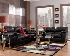 Commando Contemporary Black Faux Leather Living Room Set