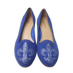 Crystal Jeweled Fleur di Lis Peacock Blue Suede Flats Made in Italy US Size 10 M | From a collection of rare vintage shoes at https://www.1stdibs.com/fashion/clothing/shoes/