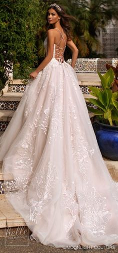 moonlight couture fall 2019 bridal sleeveless thin straps split sweetheart neckline fully embellished a line ball gown wedding dress romantic princess chapel train open back bv -- Moonlight Couture Fall 2019 Wedding Dresses Indian Wedding Guest Dress, Gorgeous Wedding Dress, Fall Wedding Dresses, Princess Wedding Dresses, Bridal Dresses, Gown Wedding, Romantic Princess, Red Wedding, Princess Kate