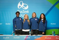 Members of our U.S. Olympic Women's Water Polo Team during yesterday's 's pre-competition press conference in Rio. Ashleigh Johnson, Courtney Mathewson, Kami Craig, and Maggie Steffens. Women start play on August 9. Get all the details by visiting http://www.usawaterpolo.org/ot/rio-2016.html