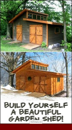We found the ultimate garden shed! Lots of storage space, great natural light, big doors. Is this the perfect shed for your backyard? (Garden Shed Plans) Wood Shed Plans, Shed Building Plans, Diy Shed Plans, Storage Shed Plans, Building Homes, Bed Plans, Building Ideas, Backyard Buildings, Backyard Sheds