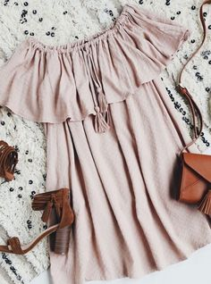 **** Try out Stitch Fix today for the best boho looks like this! I die for this adorable off the shoulder babydoll dress!! Great boho style. Love these suede stacked heels. Stitch Fix Spring, Stitch F (Best Blush Stick)