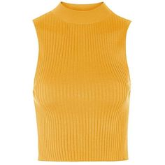 Topshop Sleeveless Rib Knit Crop Top (155 RON) ❤ liked on Polyvore featuring tops, tank tops, sleeveless tank, yellow crop tank, yellow crop top, layering tanks and sleeveless mock neck top