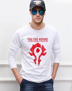 DOTA 2 Game WOW Horde men long sleeve T-shirts for the horde print 2016 new autumn man t shirt fashion plus size men top tees