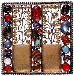 Josef Hoffmann - Gilt & Enamel Brooch with Semi Precious Stones - 1910