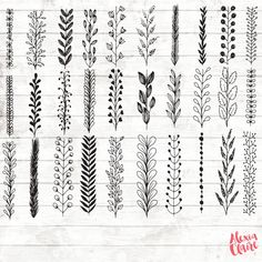 Leaf Botanical Clipart – 33 Hand Drawn Leaf border Clipart – Leaf border Art – Botanical Logo Elements – botanical borders – – Finance tips, saving money, budgeting planner Bullet Journal Art, Bullet Journal Ideas Pages, Bullet Journal Inspiration, Borders Bullet Journal, Doodle Art Letters, Easy Doodle Art, Zen Doodle, Wolf Tattoos, Finger Tattoos