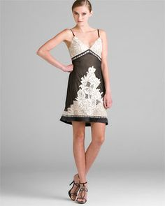 Sue Wong Black & Nude Embroidered Dress