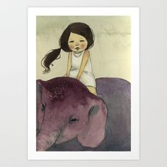 Elephant Girl Art Print by Young Ju - $18.00