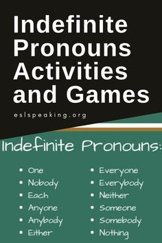 An indefinite pronoun does not refer to any specific person, thing or amount. Some of the most common indefinite pronouns include: all, another, any, anyone, anything, each, everyone, everything, few, many, nobody, none, one, some, somebody, etc.  If you're looking for some of the best indefinite pronouns games, worksheets, lesson plans and online resources, then you're definitely in the right place. Keep on reading for everything you need! Pronoun Lesson Plan, Esl Lesson Plans, Teaching English Grammar, Teaching English Online, Esl Lessons, English Lessons, Pronoun Activities, Teach English To Kids, Some Sentences