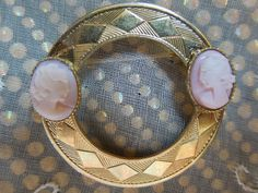 Two Pink Ladies Cameo Brooch - pinned by pin4etsy.com