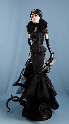 Items similar to Gala Nocturne / fantasy glam goth on Etsy Anna Lines, Dracula, Statues, Bad Barbie, Broken Doll, Clay Fairies, Gothic Dolls, Goth Art, New Dolls