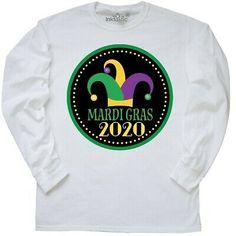 Inktastic 2020 Mardi Gras Jester Hat Long Sleeve T-Shirt Party Parade Celebrate Mardi Gras Hats, Mardi Gras Outfits, Mardi Gras Costumes, Mens Tee Shirts, Kids Shirts, T Shirt, Universal Studios Mardi Gras, Jester Hat, Novelty Hats
