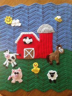 Out on the Farm Baby Blanket Auf dem Bauernhof Babydecke Crochet Ripple, Baby Afghan Crochet, Crochet Quilt, Baby Afghans, Crochet Baby Booties, Afghan Crochet Patterns, Ripple Afghan, Applique Patterns, Afghan Blanket