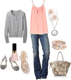 """soft pink and grey"" by kristen-344 ❤ liked on Polyvore"