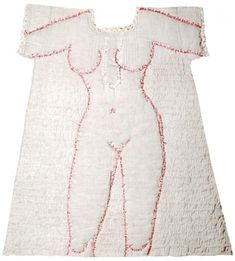 Fanny Viollet, 'La Belle Endormie', quilted shirt with silhouette outlined with passages from the 'Song of Songs'. Sculpture Textile, Textile Fiber Art, Textile Artists, Boro, Design Textile, Creative Textiles, Couture Details, Embroidery Art, Wearable Art