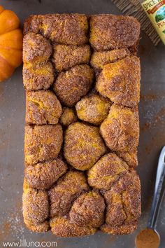 Pumpkin Bubble Bread - a delicious and sweet glazed pumpkin bread that everyone will fall in love with. Pumpkin Recipes, Fall Recipes, Holiday Recipes, Bubble Bread, Bread Recipes, Cooking Recipes, Pumpkin Bread, Pumpkin Puree, Pumpkin Dessert