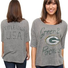 Junk Food Green Bay Packers Ladies Premium Hi-Lo Hem Game Day Tri-Blend T-Shirt - Ash Nice chillin shirt! Looks so comfy.