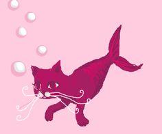 a murderous looking cat-mermaid ( in pink! )