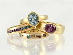 Aquamarine, pink sapphire and multicolored diamonds in 18kt yellow gold. Handmade at Union Street Goldsmith, San Francisco.