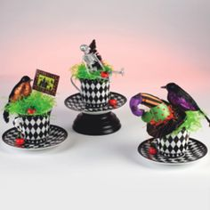 Mad Hatter Tea Cup Table Decor. Create whimsical DIY table decor for parties, Halloween, and more!