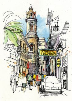 Urban Sketchers: Cuba (The heart of Old Havana. Hemingway knew these streets well, and was a regular for the mojitos at La Bodeguita del Medio. Sketch Painting, Watercolor Sketch, Drawing Sketches, Art Drawings, Urban Sketchers, Fabrice Moireau, City Sketch, Watercolor Architecture, Illustration Art