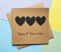 3rd anniversary card Leather wedding anniversary card Black | Etsy 3rd Anniversary Leather, Happy 3rd Anniversary, Anniversary Cards For Husband, Wedding Anniversary Cards, Valentine Day Cards, Valentines, Romantic Cards, Hand Logo, Heart Cards