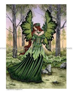Green fairy for St Patricks day ! Amy Brown-Lady of the Forest, green fairy print.Love All Amy Brown fairies! Elfen Fantasy, Fantasy Art, Forest Fairy, Fairy Land, Woodland Fairy, Magical Creatures, Fantasy Creatures, Fairy Dust, Fairy Tales