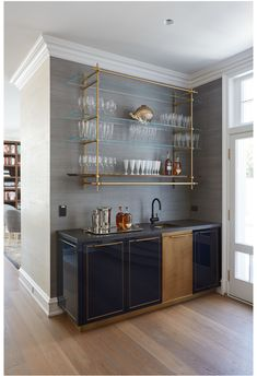 Gloss Lacquer Bar with Integral Brass Sink + Wall Hanging Collector's Shelving Unit - Amuneal: Magnetic Shielding & Custom Fabrication Kitchen Bar Design, Kitchen Decor, Bar In Kitchen, Kitchen Interior, Kitchen Cabinets, Bar Sala, Living Room Bar, Dining Room With Bar, Elegant Kitchens