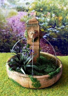 Dollhouse Miniature Wall Fountain with Mossy Green Finish 1:12 Scale