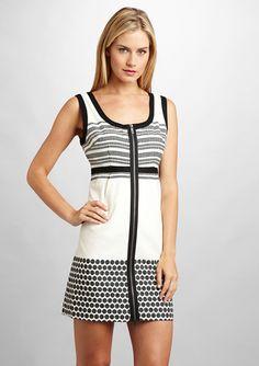 NINE WEST Zip Front Dot Border Dress
