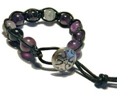 Amethyst Gemstones wrapped with Black Leather with Button Closure. Men's Bracelet Boho Hippie Shambala by ErrolCroftJewelry on Etsy