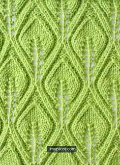 Textured Knitting Leaf Lace Stitch