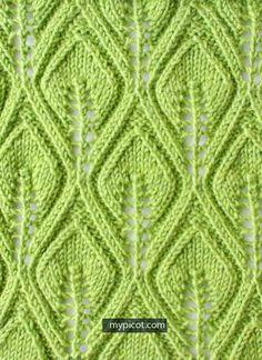 Textured Knitting Leaf Lace Stitch