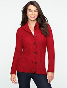 Talbot's Cable Mock Neck Cardigan