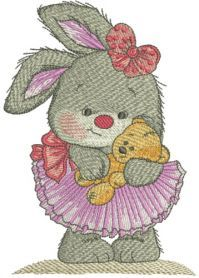 Cute bunny girl machine embroidery design. Machine embroidery design. www.embroideres.com