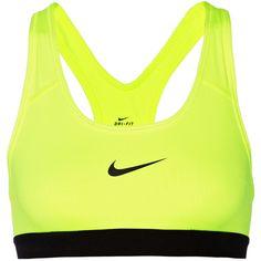 Nike Pro Fierce Dri-FIT stretch-jersey sports bra, Bright Yellow,... ($21) ❤ liked on Polyvore featuring activewear, sports bras, tops, sport, underwear, bras, neon yellow sports bra, sports bra, nike and racer back sports bra