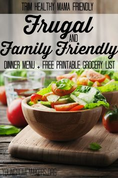 Meal planning can take a lot of time and effort, and if you're trying to stay in a budget it can be even more difficult! Try this menu that is frugal and family friendly and includes a free printable grocery list! Trim Healthy Mama friendly.