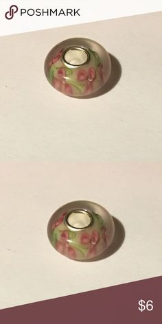 Murano style bead 1 white with red flowers Murano style bead. Fits European style bracelets Jewelry Bracelets