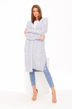 Modrý dámsky pletený kardigán Sweaters, Dresses, Fashion, Dress, Vestidos, Moda, Pullover, Sweater