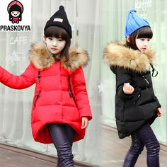 fashion children Winter Jacket For Girls Jackets Coats Kids Baby Thick Down Fur Hooded Long Girls Coat Duck Child Outerwear Kids Winter Fashion, Winter Kids, Kids Fashion, Girls Winter Jackets, Duck Down Jacket, Long Parka, Fashion Leaders, Kids Coats, Baby Warmer