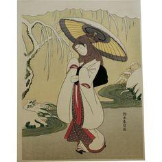 "Suzuki Harunobu (1725-1770), 'The Heron Maiden with Snow Umbrella' Japanese Woodblock Print 11.5"" x 8.75"""