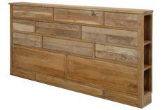 Jolie tête de lit en bois avec rangements sur les côtés