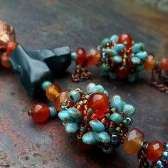 """""""The Storyteller"""" necklace - polymer clay cabochon, Matubo beads, carnelian, TOHO and Miyuki seed beads. Love this color combination! Beaded Jewelry, Jewelry Necklaces, Beaded Bracelets, Carnelian, Seed Beads, Agate, Polymer Clay, Jewels, Inspiration"""