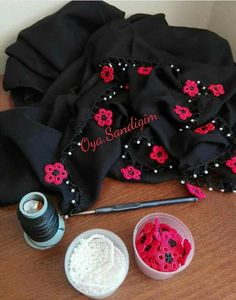 This Pin was discovered by Kad Scarf Hairstyles, Tatting, Christmas Sweaters, Diy And Crafts, Bollywood, Bomber Jacket, Fancy, Embroidery, Jackets