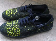 STAR WARS Shoes, Hand painted Star Wars Canvas Sneakers, Size UK5/EU38