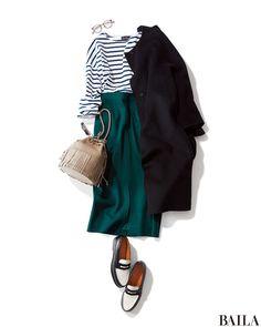 striped tee with teal skirt Modern Hijab Fashion, Work Fashion, Modest Fashion, Korean Fashion, Fashion Outfits, Womens Fashion, Japanese Outfits, Japan Fashion, Minimalist Fashion