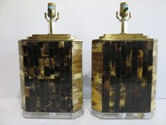Pair Of Baurer Manufactured Mid-Century Modern Brass, Lucite And Inlaid Bone Lamps. by FLORIDAMODERN on Etsy