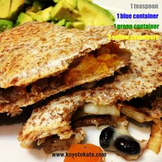 21 day fix - Squash and Black bean quesadillas created by coach Kate Brockmeyer. www.facebook.com/koyotekate